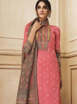 Pink Resham Cotton Palazzo Salwar Kameez