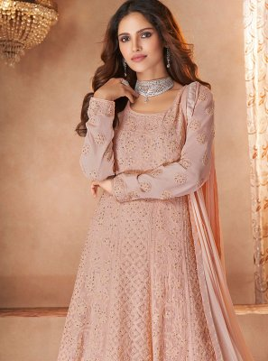 Pink Resham Festival Floor Length Designer Suit
