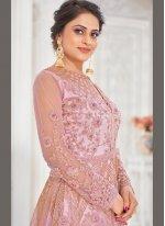 Pink Resham Net Floor Length Anarkali Suit