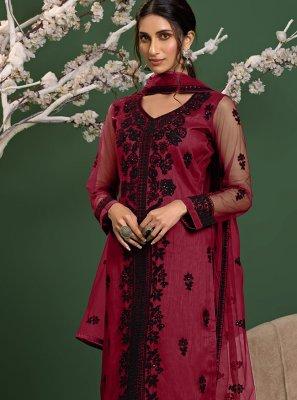 Pink Resham Reception Trendy Salwar Kameez