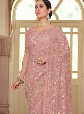 Pink Resham Trendy Saree