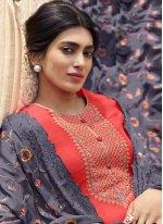 Pink Resham Tussar Silk Designer Palazzo Salwar Kameez