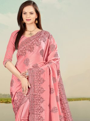 Pink Sangeet Faux Chiffon Classic Designer Saree