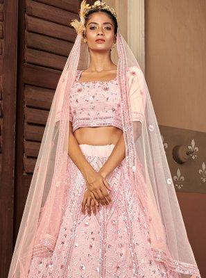 Pink Sangeet Georgette Lehenga Choli