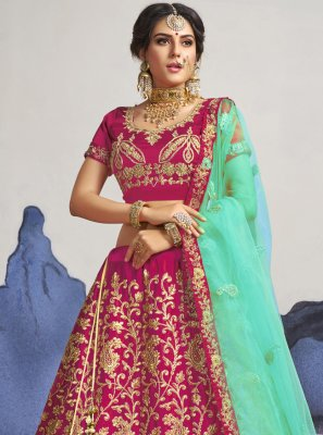 Pink Sangeet Satin Silk A Line Lehenga Choli