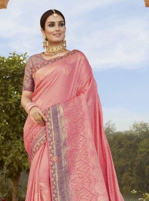 Pink Sangeet Silk Classic Designer Saree
