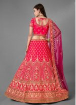 Pink Satin Embroidered Designer Lehenga Choli