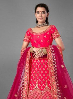 Pink Satin Embroidered Designer Lehenga Choli