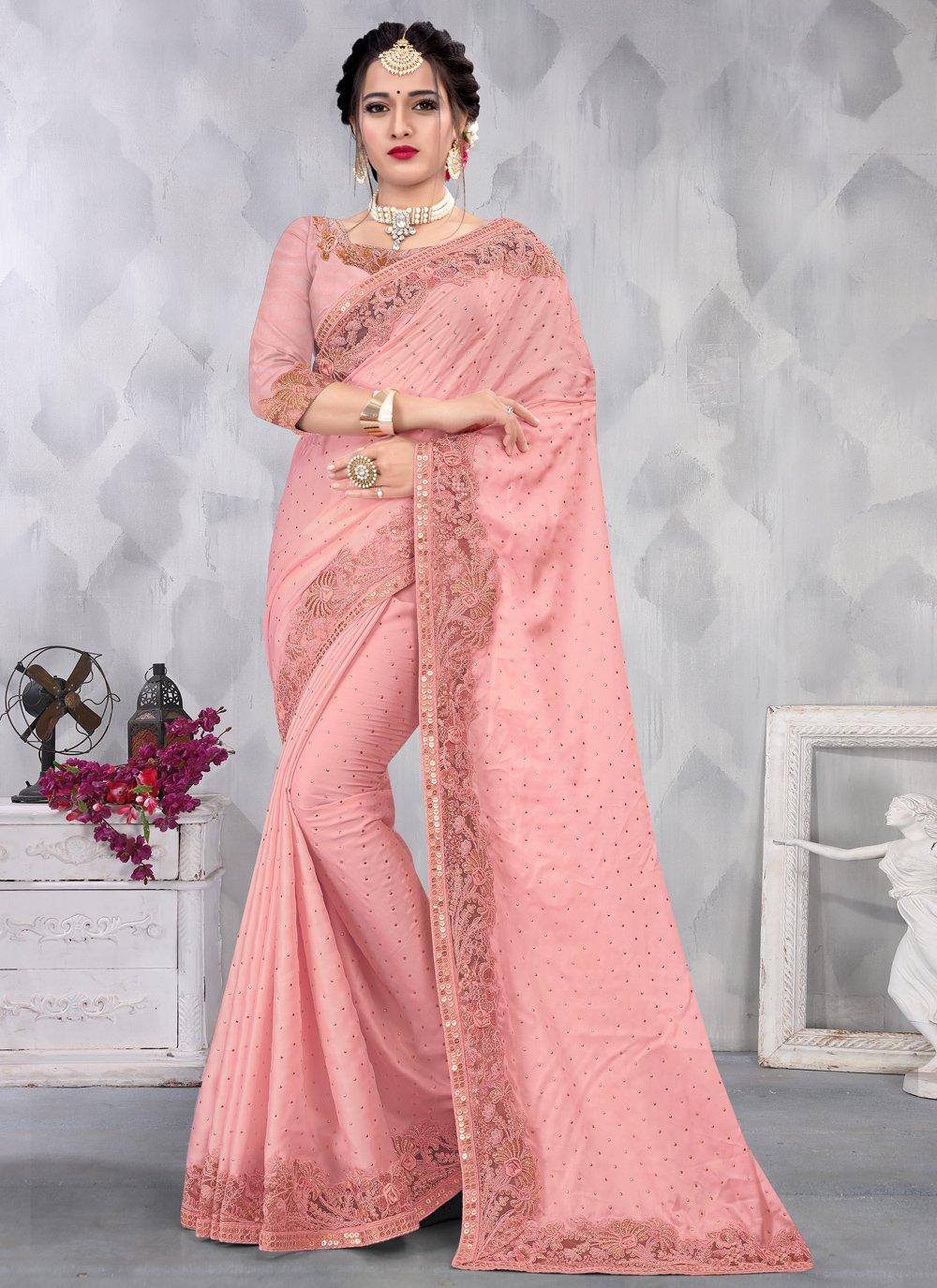 Pink Satin Engagement Designer Saree