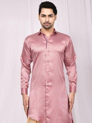 Pink Satin Silk Buttons Indo Western