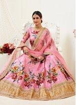 Pink Satin Silk Lehenga Choli