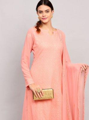 Pink Sequins Festival Designer Straight Suit