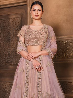 Pink Sequins Satin Silk Lehenga Choli