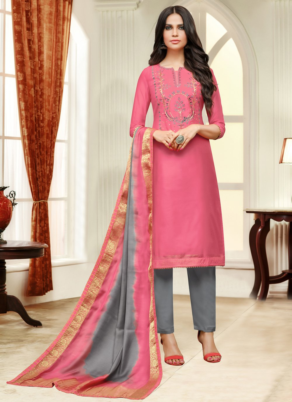 Pink Silk Embroidered Pant Style Suit
