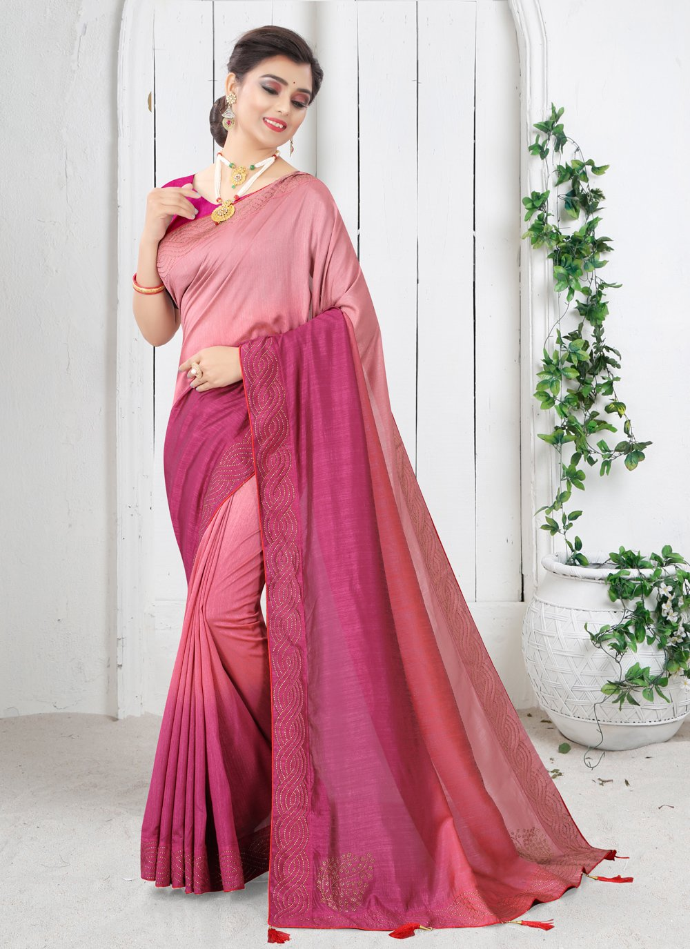 Pink Silk Festival Shaded Saree