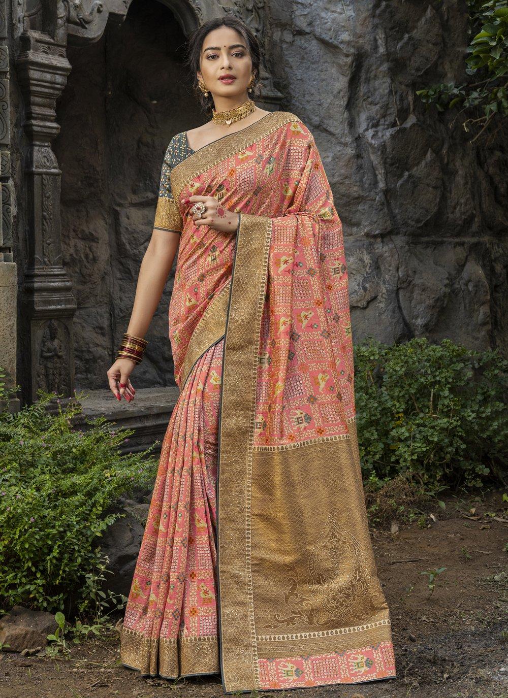 Pink Silk Festival Traditional Saree
