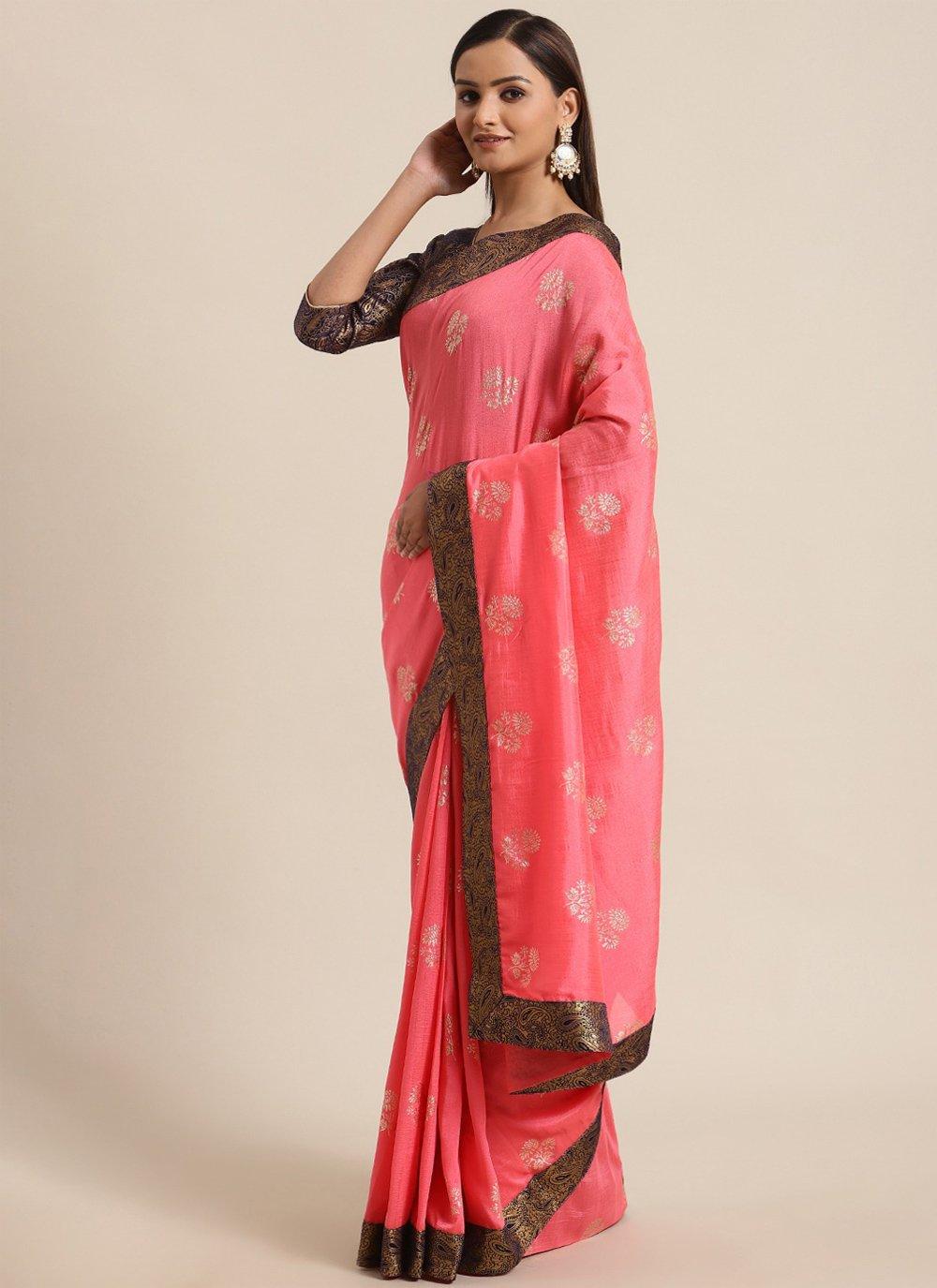 Pink Silk Foil Print Traditional Saree