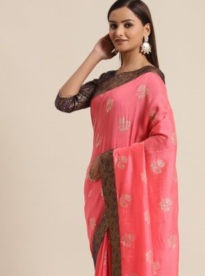 Pink Silk Foil Print Traditional Saree