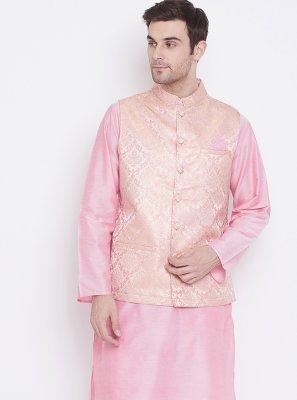 Pink Silk Jacquard Work Kurta Payjama With Jacket