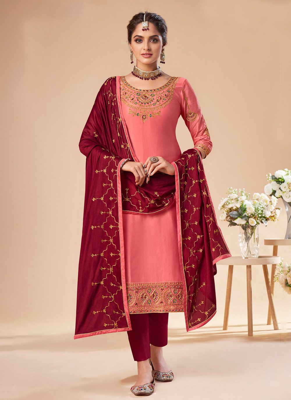Pink Silk Pant Style Suit