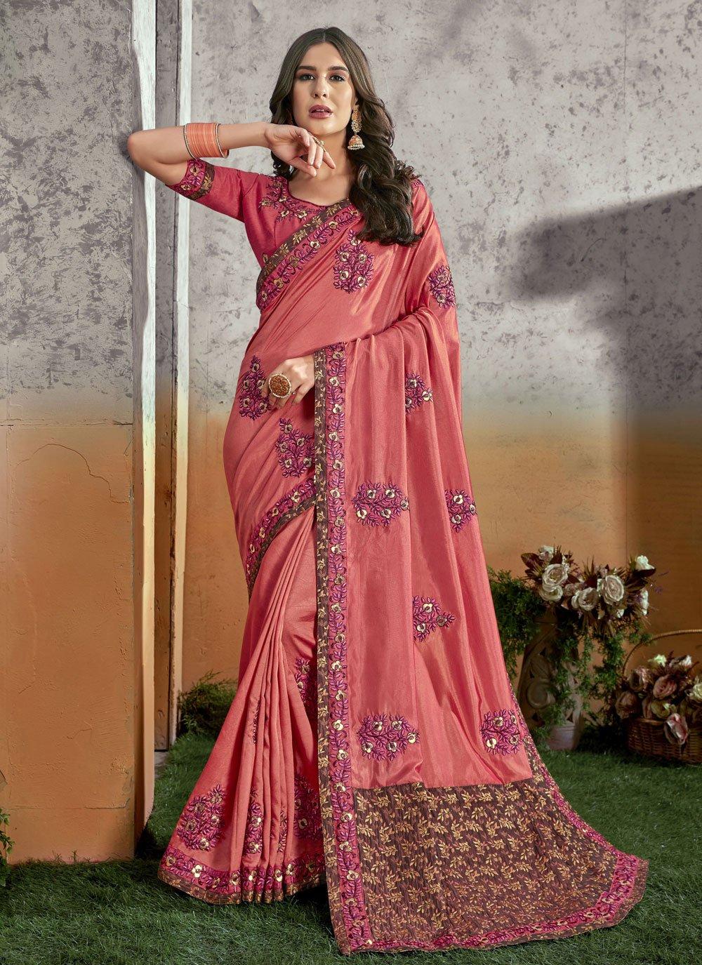 Pink Silk Trendy Saree