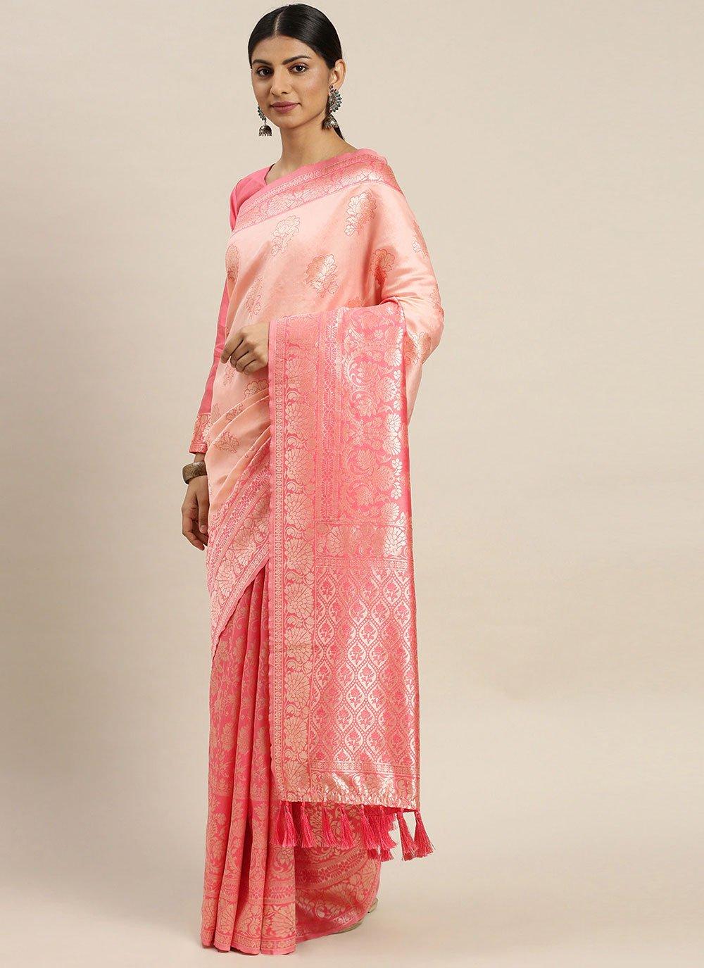 Pink Silk Weaving Designer Traditional Saree