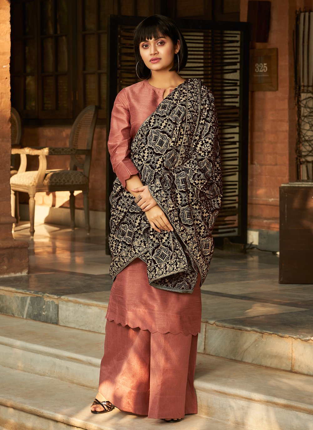 Pink Stone Designer Palazzo Salwar Suit