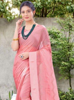 Pink Stone Work Chiffon Satin Classic Designer Saree