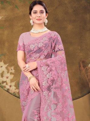 Pink Stone Work Designer Saree