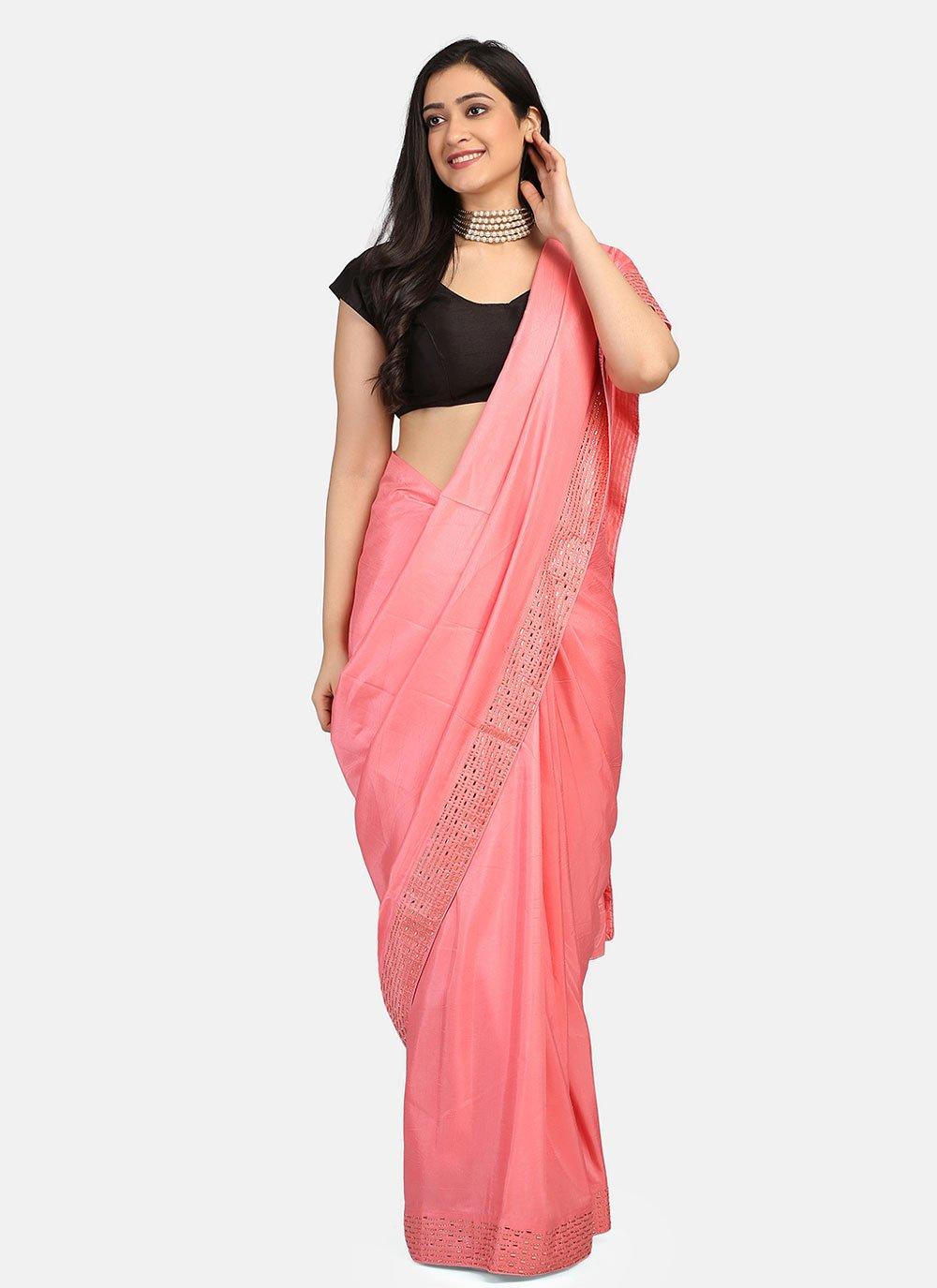 Pink Stone Work Fancy Fabric Classic Saree
