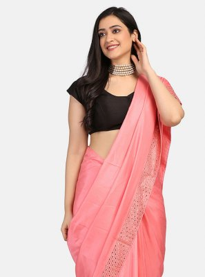 Pink Stone Work Fancy Fabric Classic Saree