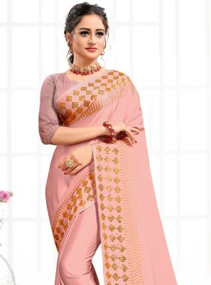 Pink Swarovski Traditional Saree