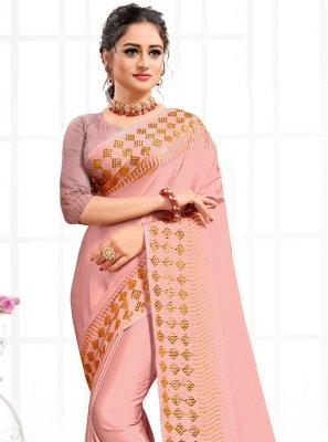 Pink Swarovski Traditional Saree