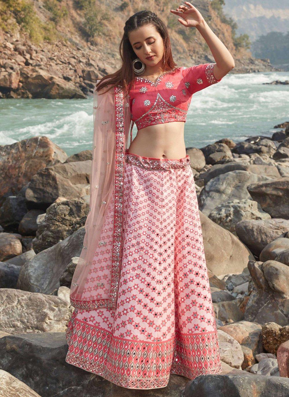Pink Thread Work Art Silk Lehenga Choli