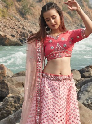 Pink Thread Work Art Silk Lehenga Choli