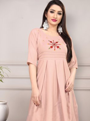 Pink Thread Work Casual Kurti