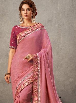 Pink Tussar Silk Designer Saree