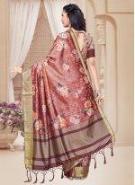 Pink Tussar Silk Digital Print Printed Saree