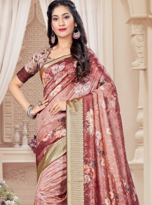 Pink Tussar Silk Digital Print Printed Saree