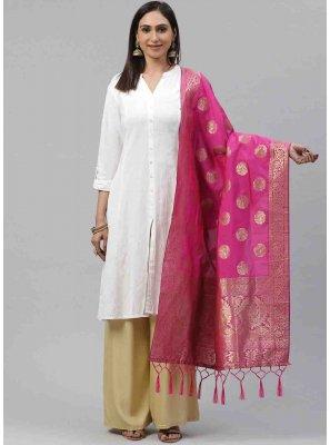 Pink Weaving Engagement Designer Dupatta