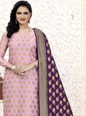 Pink Weaving Fancy Fabric Churidar Suit
