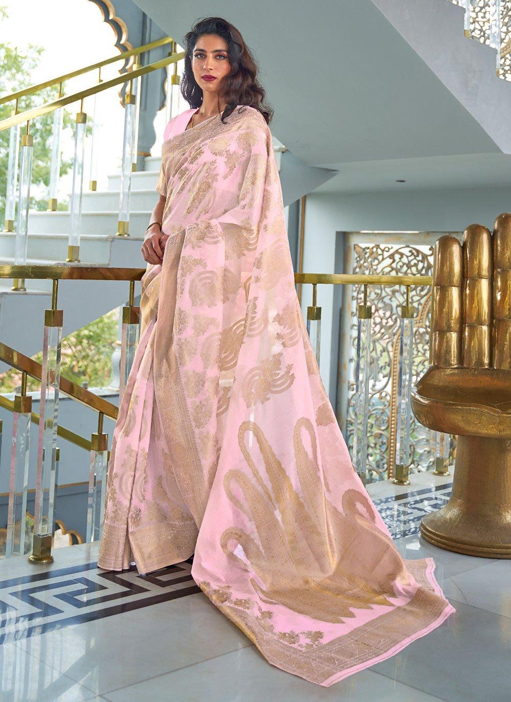 Pink Weaving Fancy Fabric Designer Traditional Saree