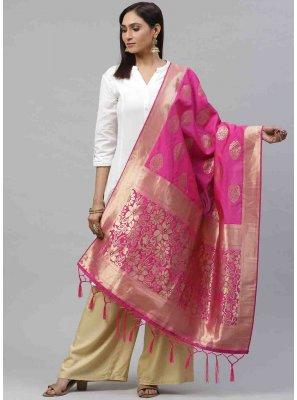 Pink Weaving Festival Designer Dupatta