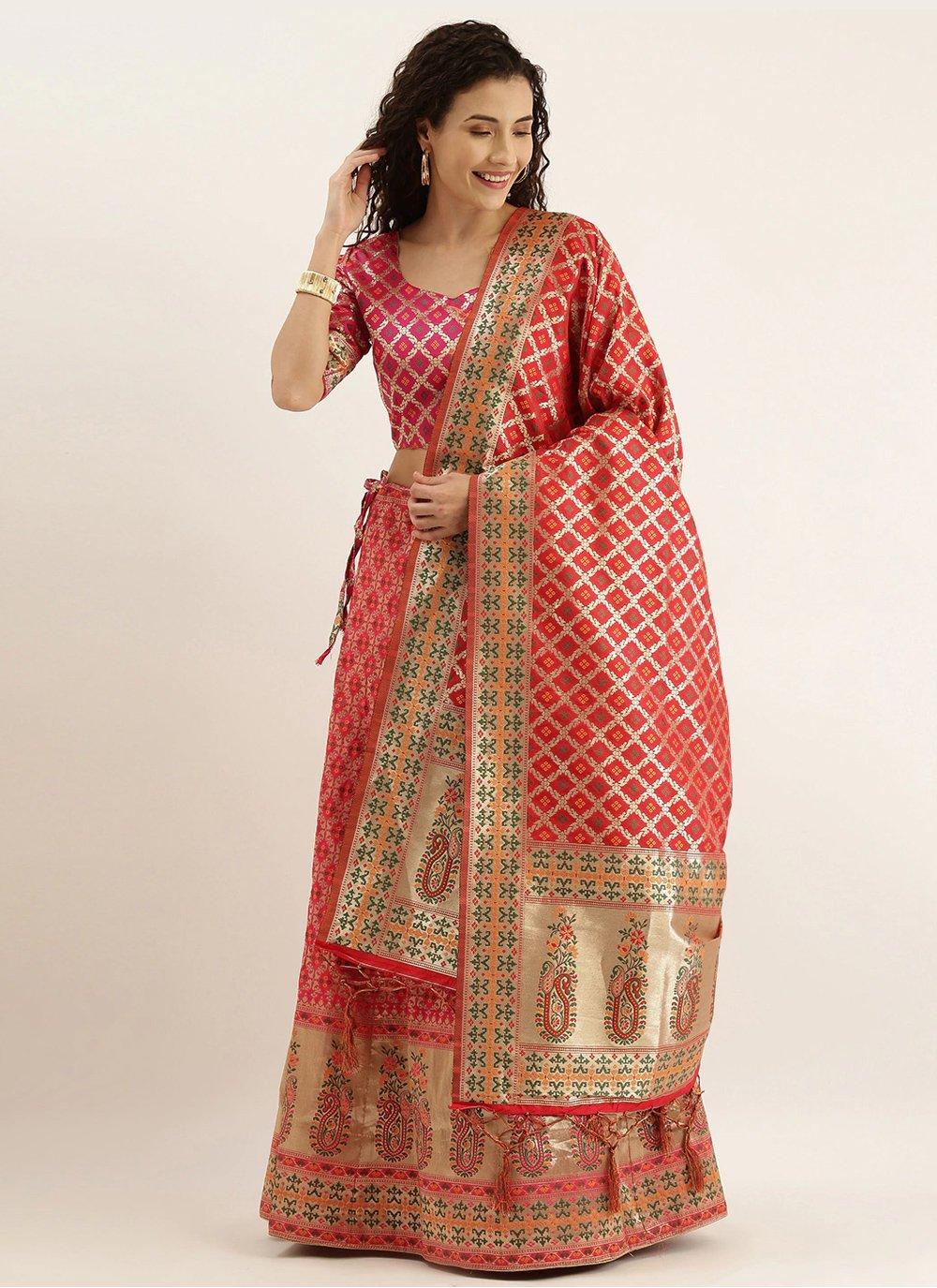 Pink Weaving Lehenga Choli