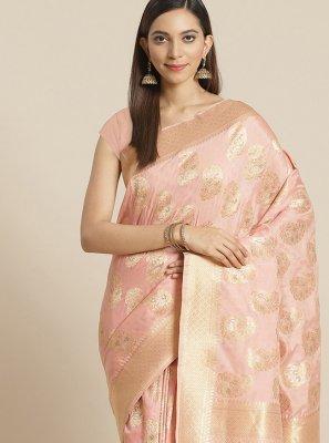 Pink Weaving Silk Traditional Saree