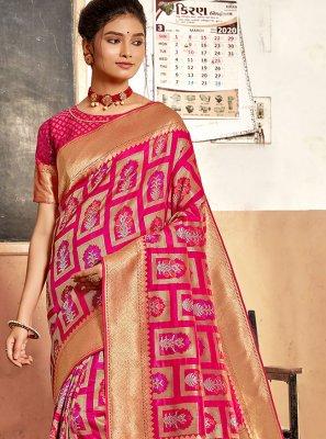 Pink Weaving Traditional Designer Saree