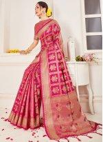 Pink Woven Art Banarasi Silk Designer Traditional Saree