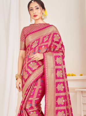 Pink Woven Art Banarasi Silk Designer Traditional Saree