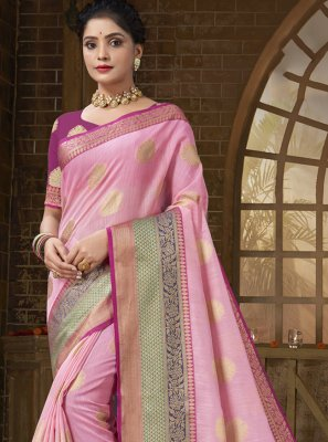 Pink Woven Ceremonial Designer Traditional Saree