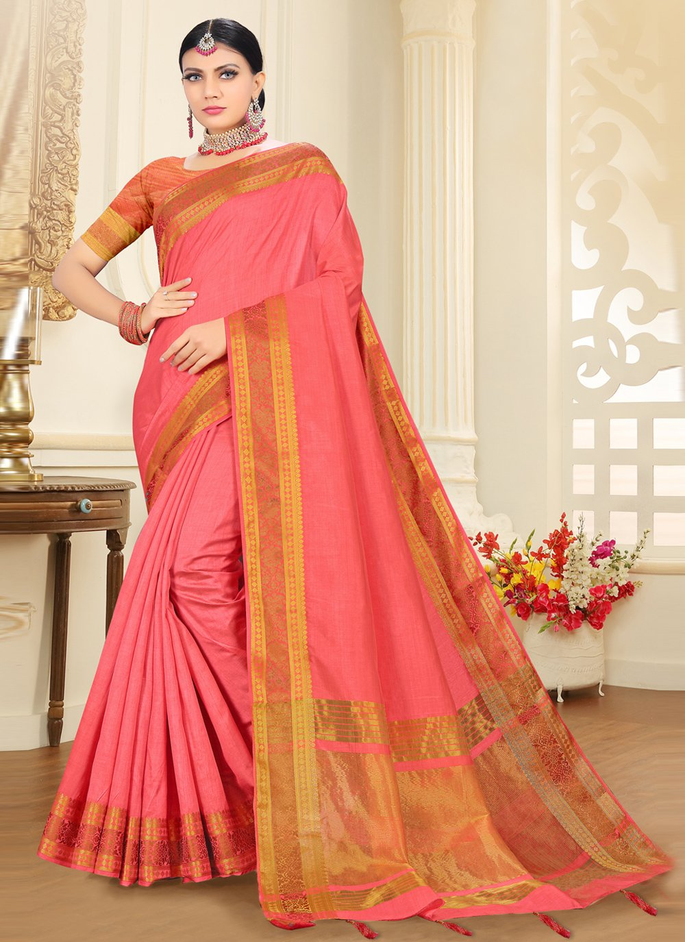 Pink Woven Ceremonial Traditional Saree